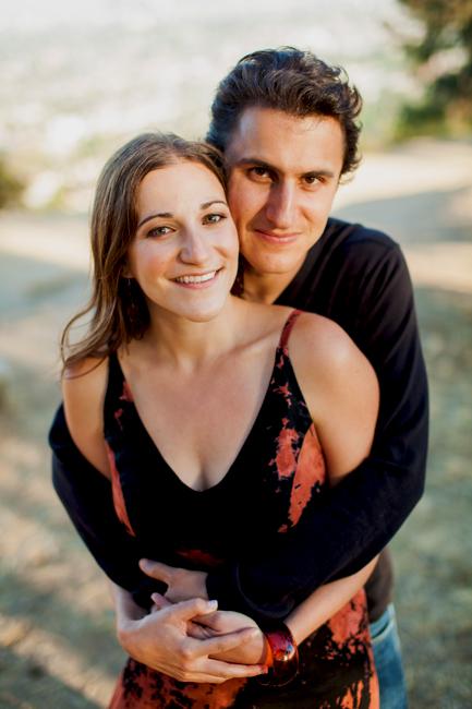 couple hug engagement photo