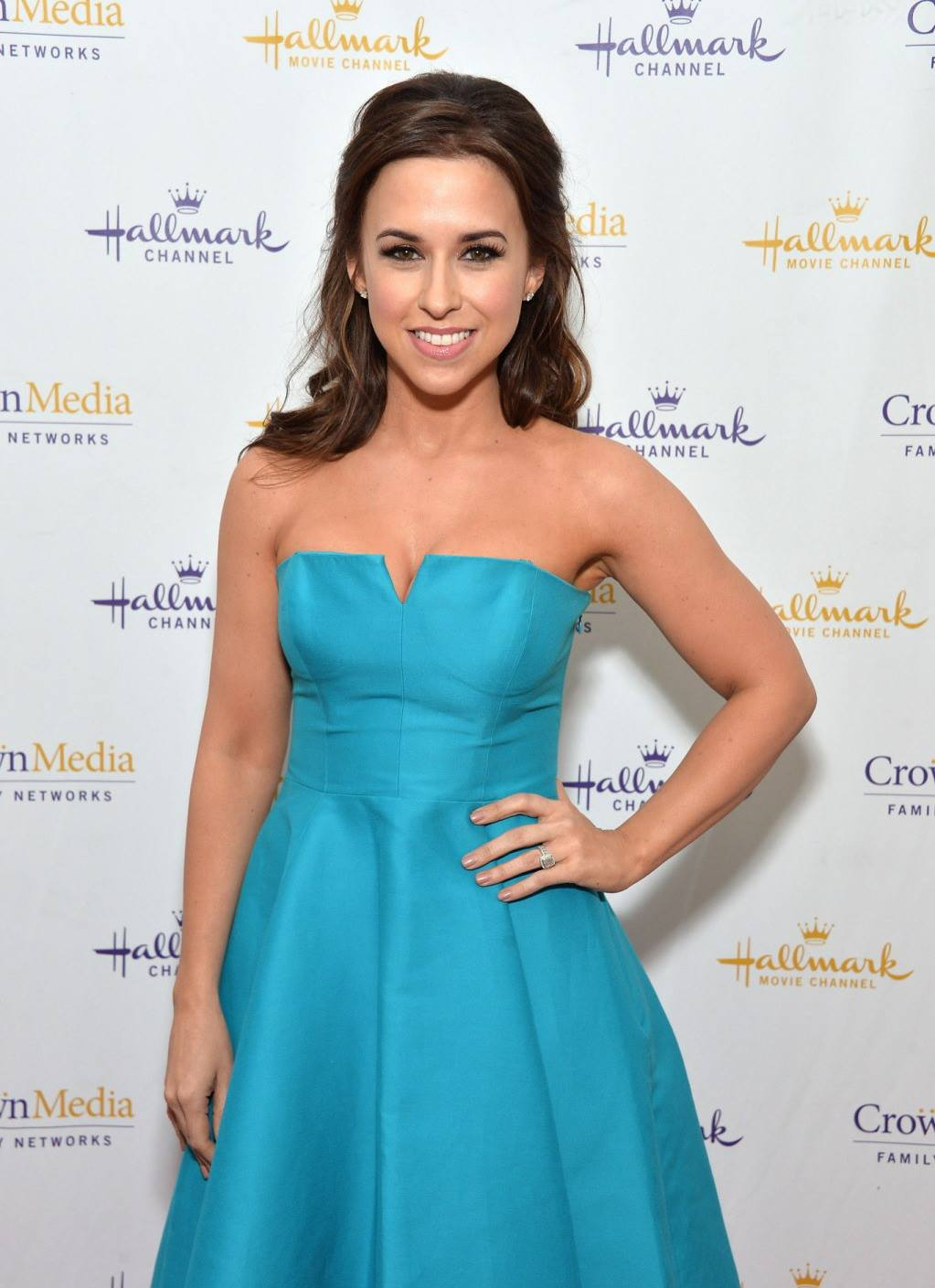 Lacey Chabert at Hallmark Channel Network Event in blue gown