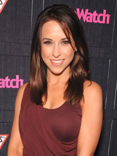 Lacey Chabert at Stylewatch wearing maroon dress
