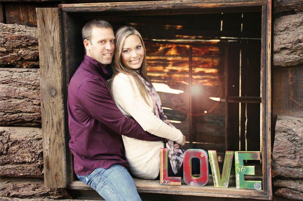 love cabin engagement photo