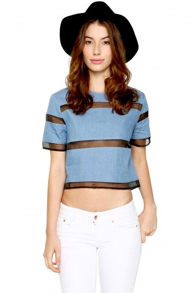 horizontal blue stripes with a black hat ad | Pynk Nylons