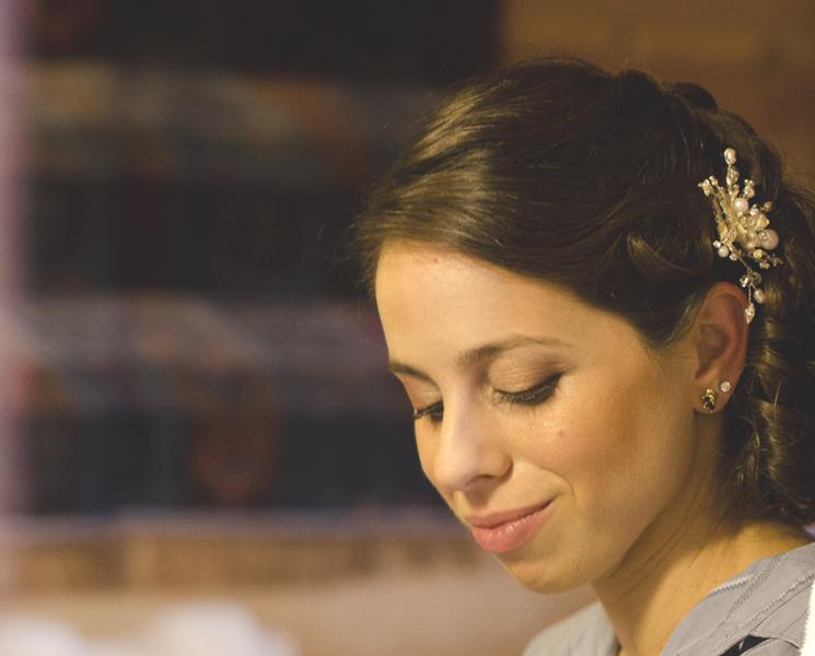 smiling bride Kepre looking down