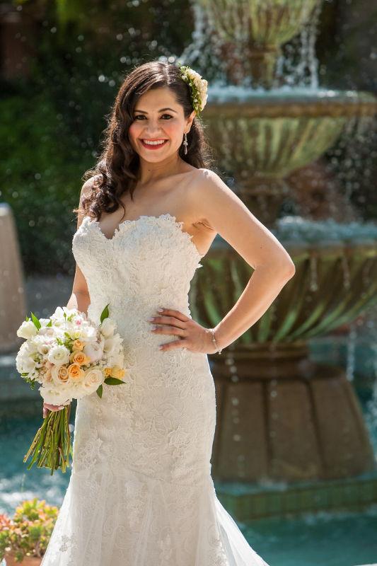 the bride strikes a pose