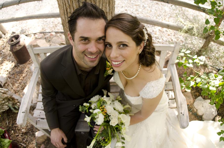 bride and groom fisheye lens