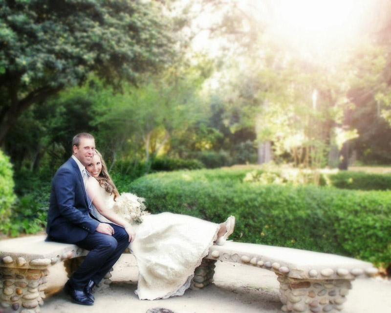 bride and groom in the courtyard
