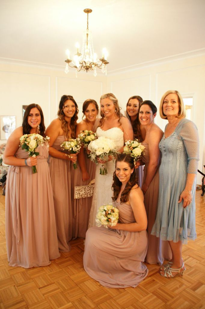 bride with all the ladies in ballroom